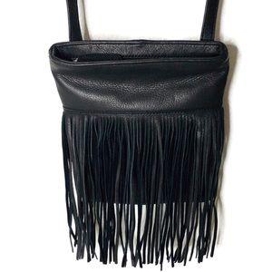 Margot black leather fringe cross body bag.